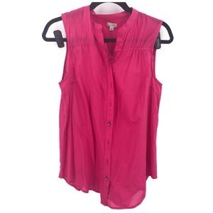 Anthro Odille Pink Button Down Sleeveless Blouse